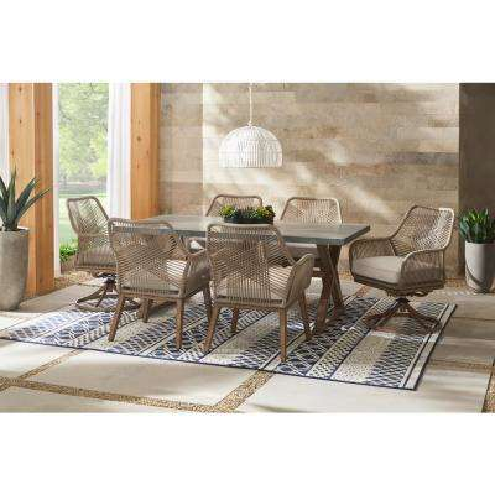 Haymont 7-Piece Steel Wicker Outdoor Patio Dining Set with Beige Cushions