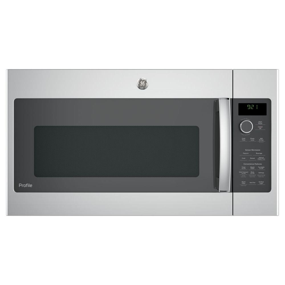 Ge Profile 2 1 Cu Ft Over The Range Microwave With Sensor Cooking In Stainless Steel