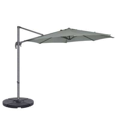 10 ft. Steel Cantilever Tilt Patio Umbrella in Gray