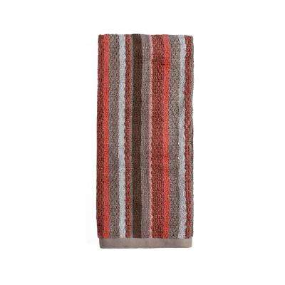 Coral Garden Stripe Cotton Hand Towel in Coral