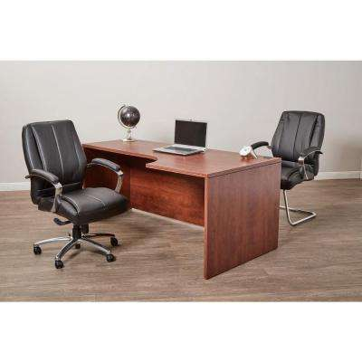 Black Bonded Leather Mid Back Office Chair