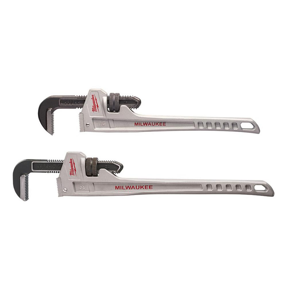 Milwaukee 18 in. and 24 in. Aluminum Pipe Wrench Set (2-Tool)