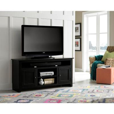 Rio Bravo 58 in. Black Wood TV Stand Fits TVs Up to 65 in. with Storage Doors