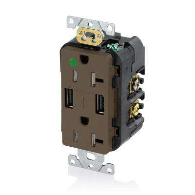 Decora 20 Amp Hospital Grade Tamper Resistant Duplex Outlet and 3.6 Amp USB Outlet, Brown