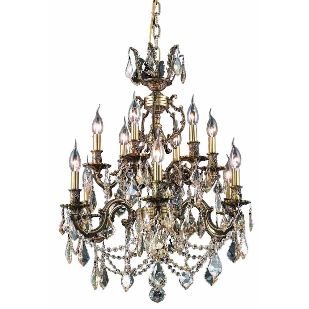 Elegant Lighting 12-Light Antique Bronze Chandelier with Golden Shadow Champagne Crystal
