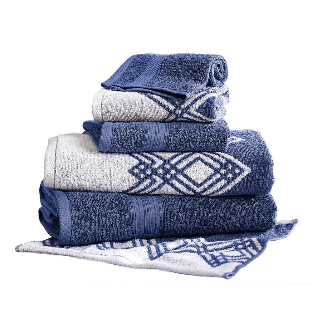 Popcorn Diamond 6-Piece Cotton Bath Towel Set in Indigo