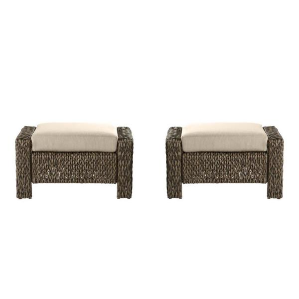 Laguna Point Brown Wicker Outdoor Patio Ottoman with CushionGuard Putty Tan Cushions (2-Pack)