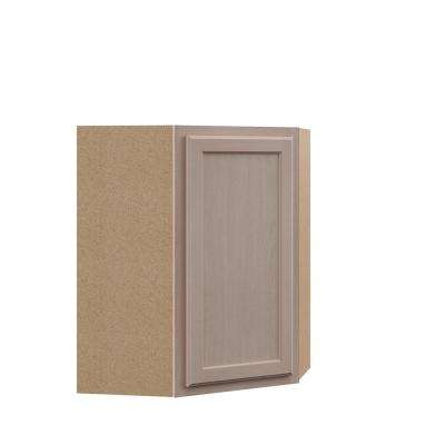Hampton Unfinished Assembled 24x30x12 in. Diagonal Corner Wall Kitchen Cabinet in Beech
