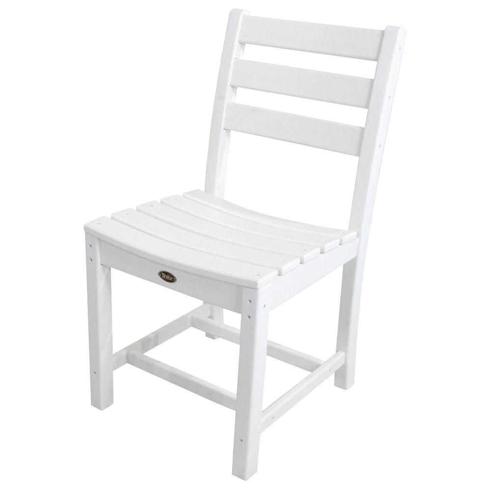 Trex outdoor furniture monterey bay classic white patio dining side chair txd100cw the home depot Cw home depot furnitures