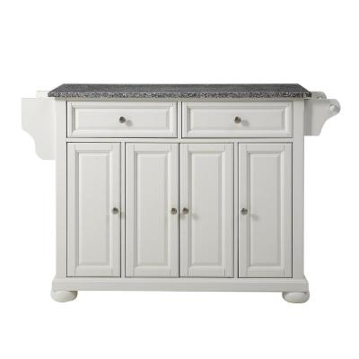 Alexandria White Kitchen Cart with Granite Top