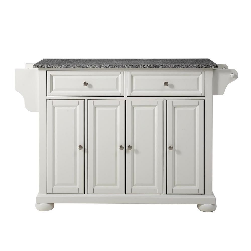 Alexandria White Kitchen Cart with Granite Top