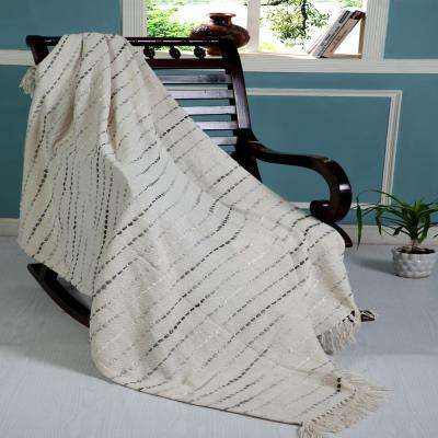 Grayscale 50 in. x 60 in. Gray/Cream Decorative Throw Blanket
