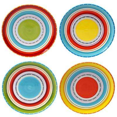 Mariachi Multi-Colored Dinner 10.75 in. Plate Set (Set of 4)