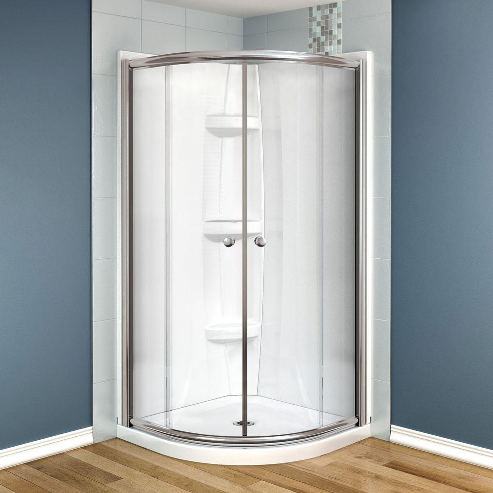 MAAX Talen 36 in. x 36 in. x 73 in. Neo-Round Shower Kit in Nickel with Clear Glass, Base and Walls in White