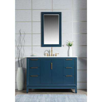Elizabeth 48 in. Bath Vanity in Monarch Blue with Carrara White Marble Vanity Top with Ceramics White Basins and Mirror