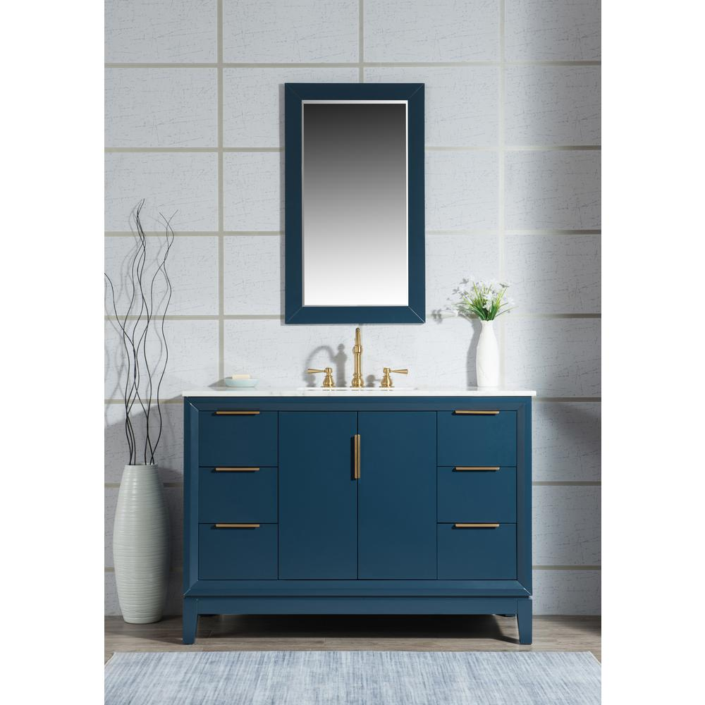 Water Creation Elizabeth 48 in. Monarch Blue With Carrara White Marble Vanity Top With Ceramics White Basins and Mirror and Faucet