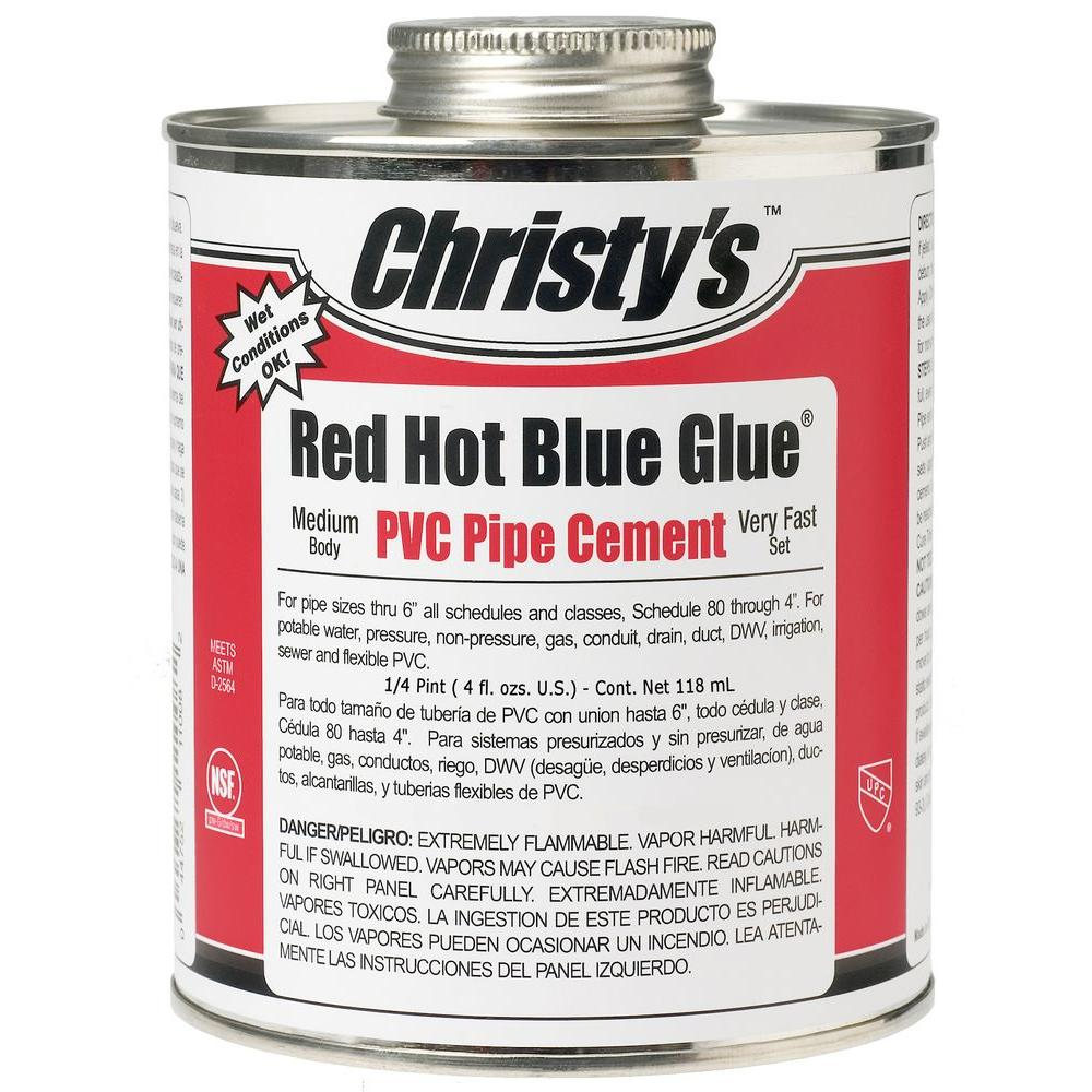 Christy's 4 oz. PVC Red Hot Blue Glue Pipe Cement (Case of 48)