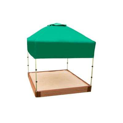 Classic Sienna 4 ft. x 4 ft. x 5.5 in. Composite Square Sandbox Kit with Telescoping Canopy/Cover - 1 in. profile