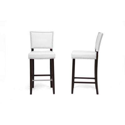Aries White Faux Leather Upholstered 2-Piece Bar Stool Set