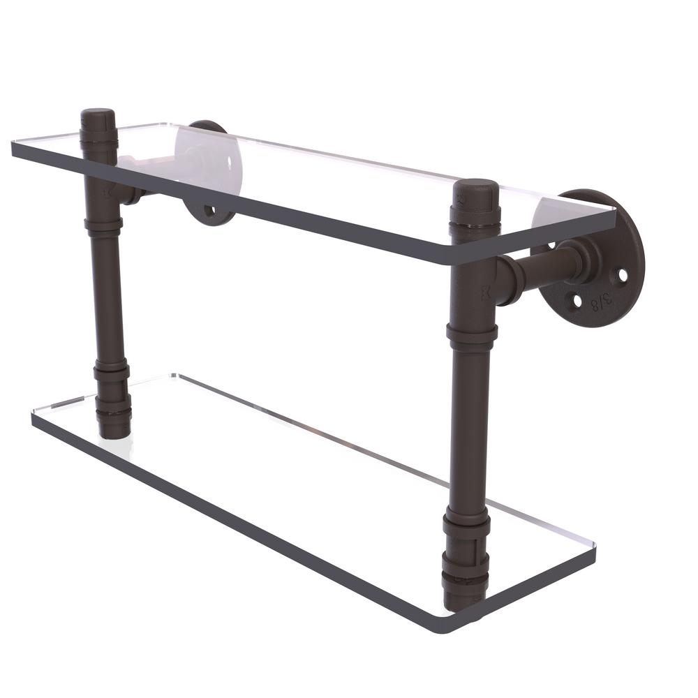 Pipeline Collection 16 in. Double Glass Shelf in Oil Rubbed Bronze