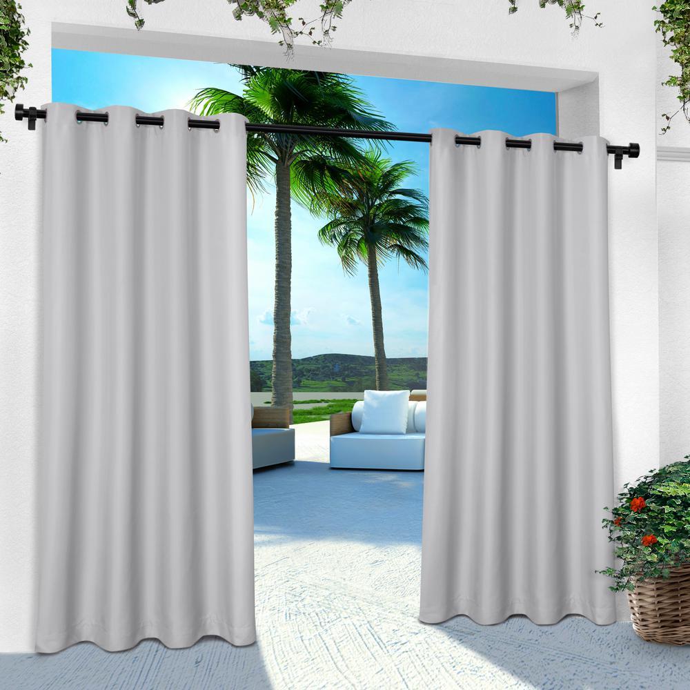 Indoor Outdoor Solid 54 in. W x 96 in. L Grommet Top Curtain Panel in Cloud Gray (2 Panels)