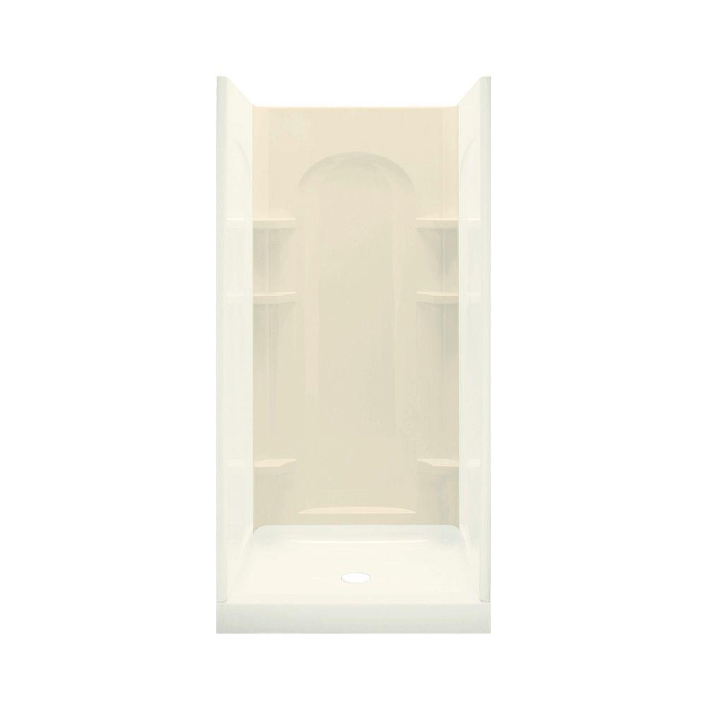 STERLING Ensemble 1-5/8 in. x 36 in. x 72-1/2 in. One Piece Direct-to-Stud Back Shower Wall in Almond