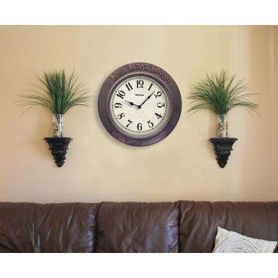 11 in. Brown Round Live, Love, Laugh Wall Clock