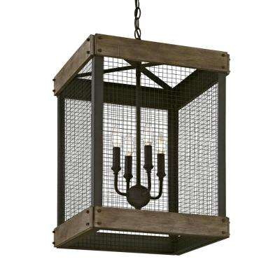 Mercado 4-Light Textured Bronze Pendant with Metal Mesh Cover Wood Accent Panels