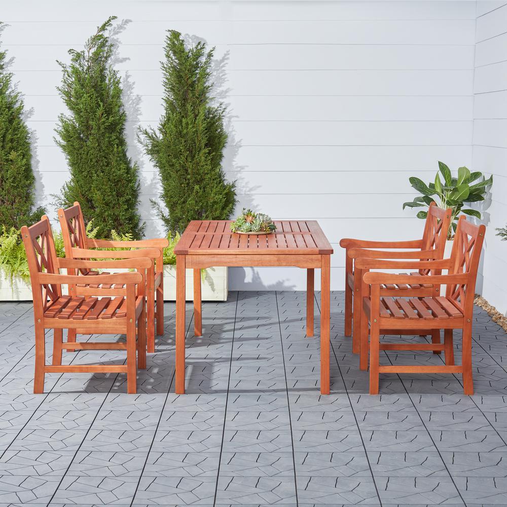 Vifah Malibu Wood 5-Piece Outdoor Dining Set