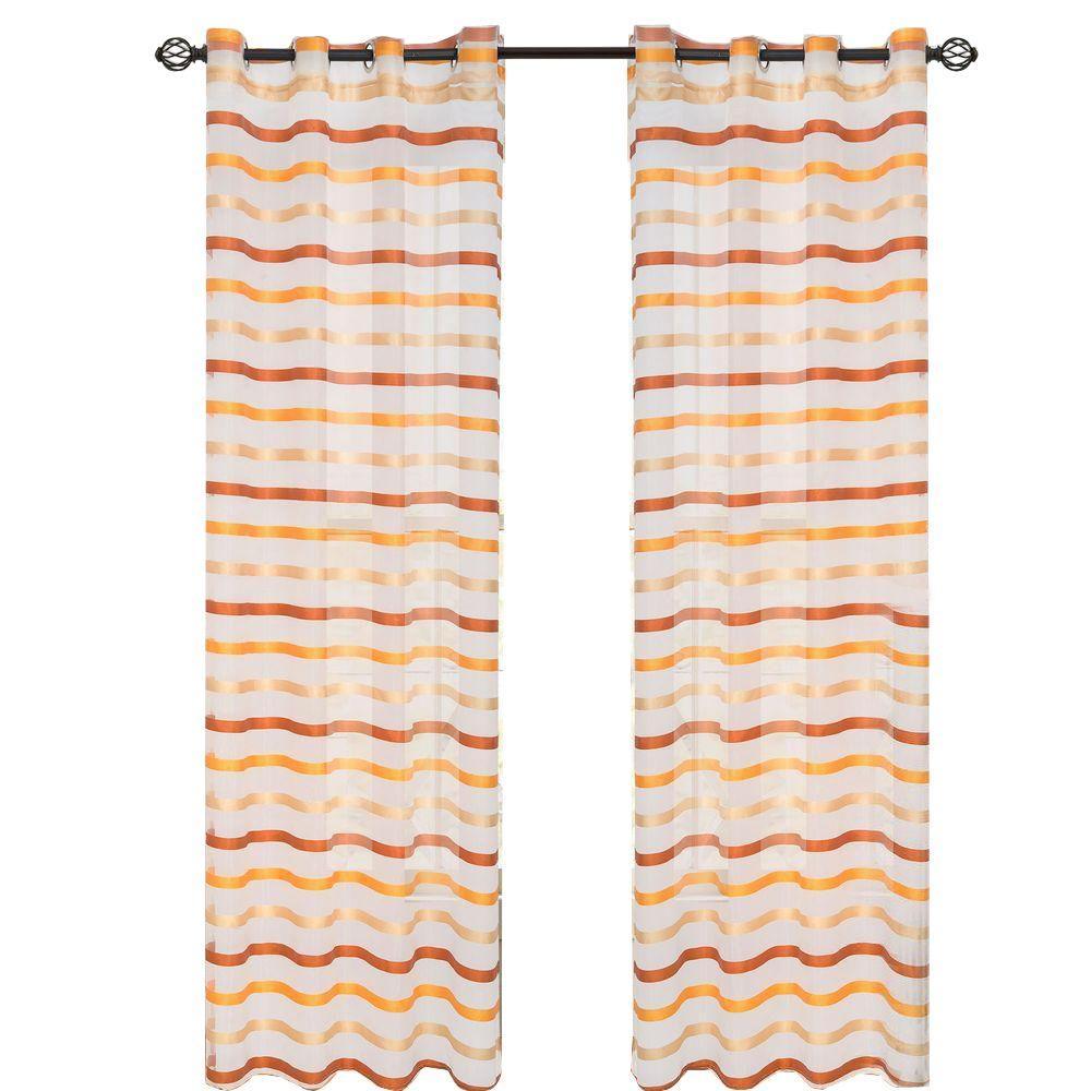 Orange Sonya Grommet Curtain Panel, 95 in. Length