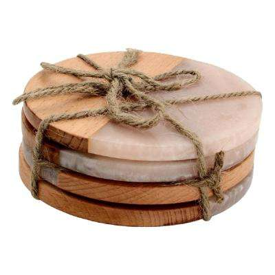 4-Piece Fusion Wood and Marble Effect Coaster Set