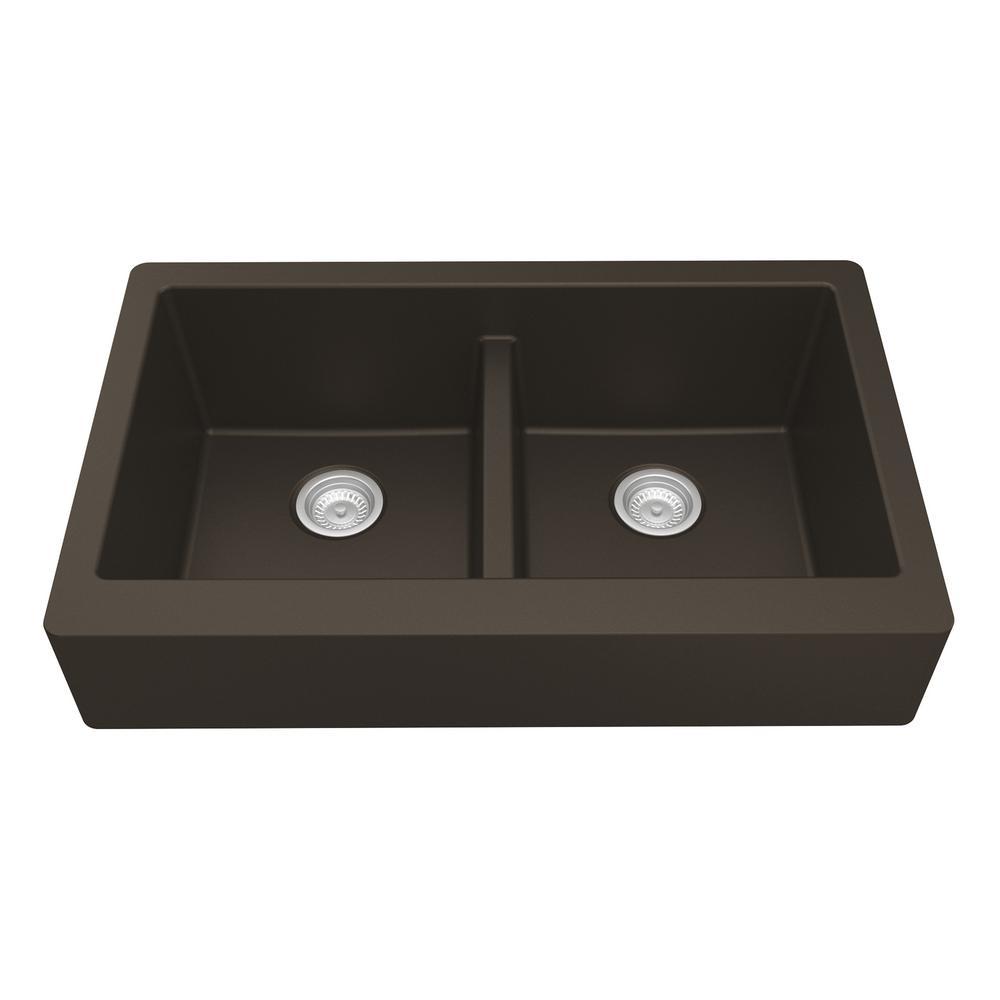 Karran Retrofit Farmhouse Apron Front Quartz Composite 34 in. Double Bowl Kitchen Sink in Brown