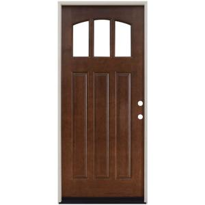 steves sons 36 in x 80 in craftsman 3 lite arch stained mahogany wood prehung front door. Black Bedroom Furniture Sets. Home Design Ideas