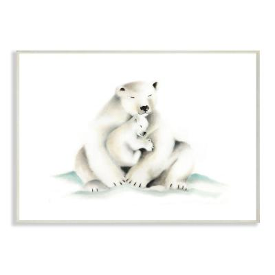 "10 in. x 15 in. ""Cute Cartoon Baby Polar Bear Family Zoo Painting"" by Studio Q Wood Wall Art"