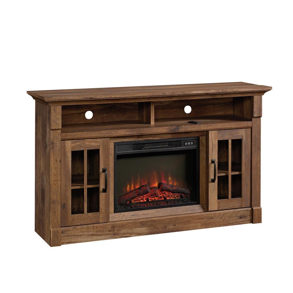SAUDER 60 in. Vintage Oak Rectangle Engineered Wood TV Console with Fireplace, Vintage Oak®