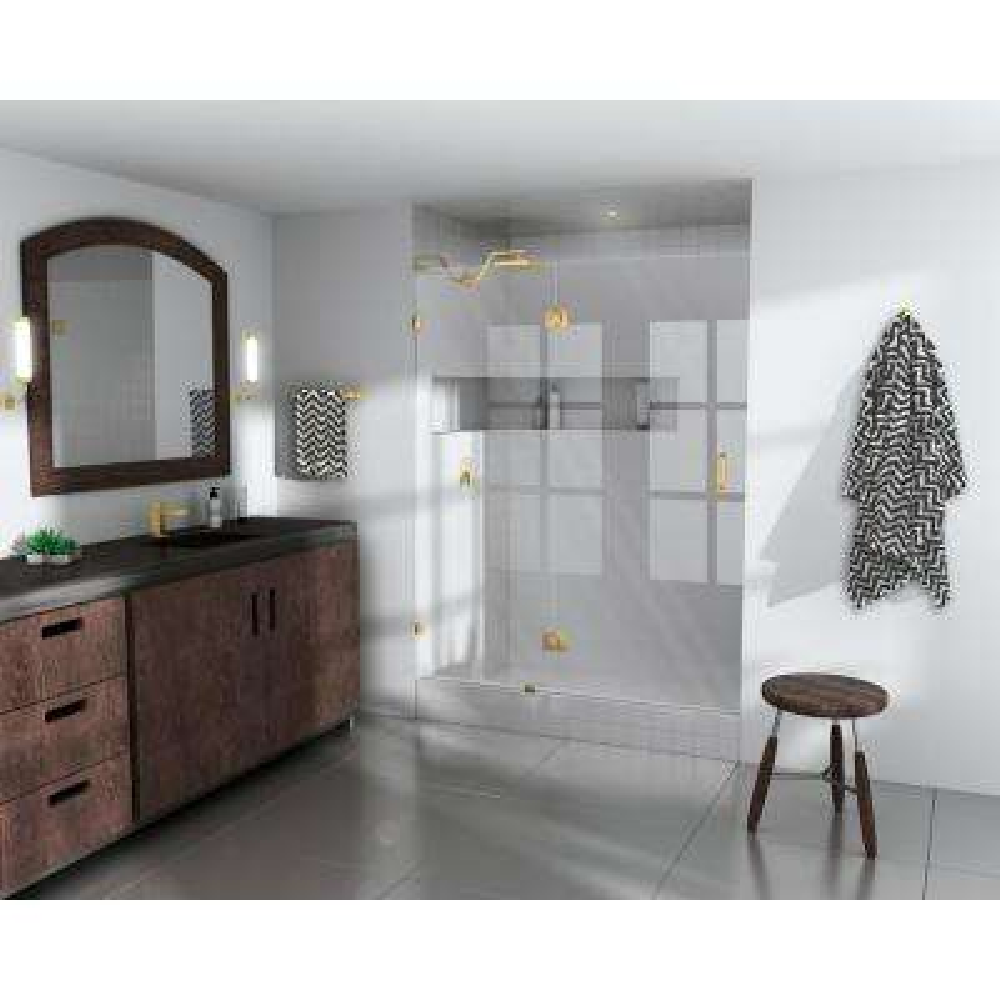 50.5 in. x 78 in. Frameless Pivot Glass Hinged Shower Door in Satin Brass