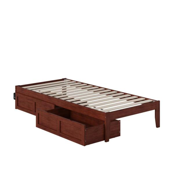 Colorado Twin Extra Long Bed with USB Turbo Charger and 2 Extra Long Drawers in Walnut