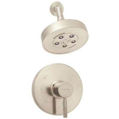 Neo Single-Handle 3-Spray Pressure Balance Valve and Trim Shower Faucet Combination in Brushed Nickel (Valve Included)