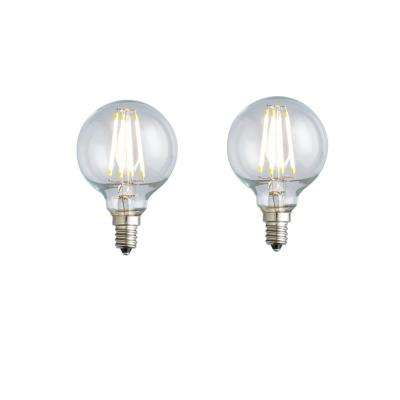 40W Equivalent Soft White G16.5 Clear Lens Nostalgic Globe Dimmable LED Light Bulb (2-Pack)