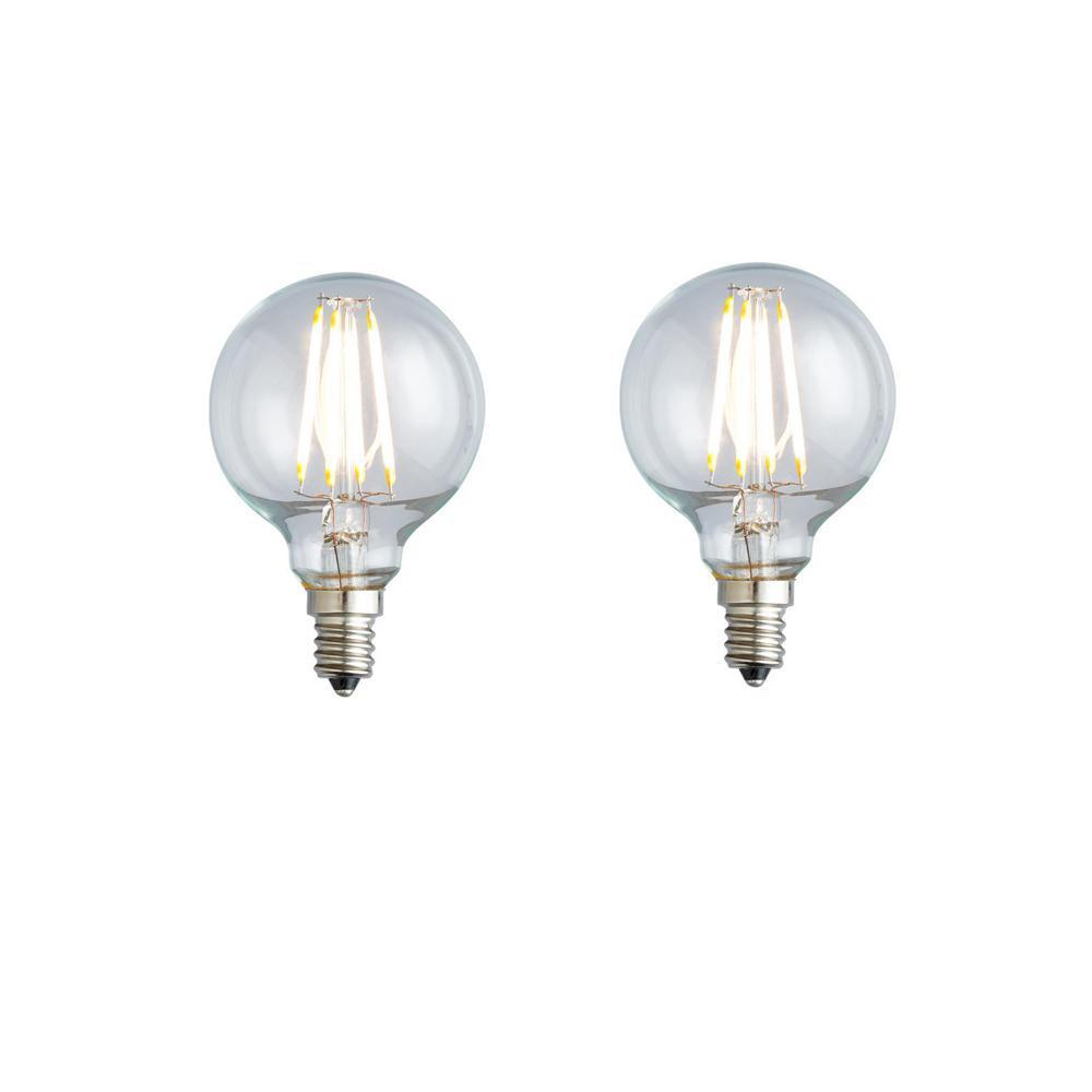 40W Equivalent Soft White G16.5 Clear Lens Nostalgic Globe Dimmable LED Light Bulb (2-Pack)