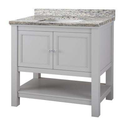 Gazette 37 in. W x 22 in. D Vanity in Grey with Granite Vanity Top in Santa Cecilia with White Sink