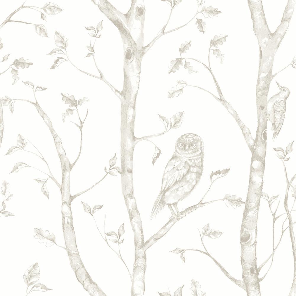 Neptune Taupe Forest Wallpaper Sample