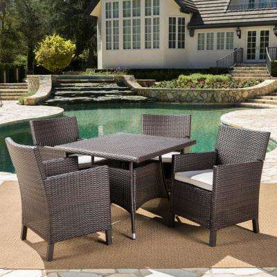Cypress Multi-Brown 5-Piece Wicker Square Outdoor Dining Set with Light Brown Cushions