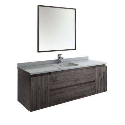 Formosa 60 in. Modern Wall Hung Vanity in Warm Gray with Quartz Stone Vanity Top in White with White Basin and Mirror