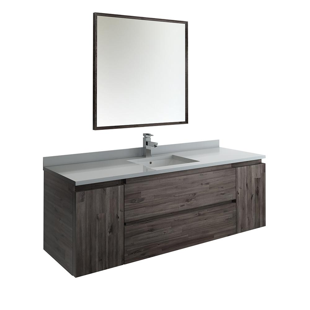 Modern Wall Hung Vanity In Warm Gray With Quartz Stone Top White Basin And Mirror