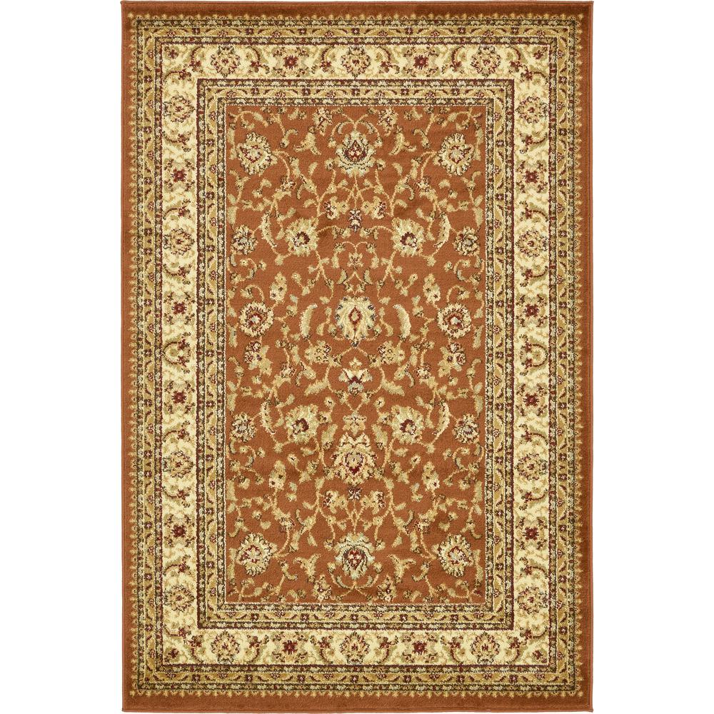 Unique Loom Agra Brick Red 4 Ft. X 6 Ft. Area Rug-3132936