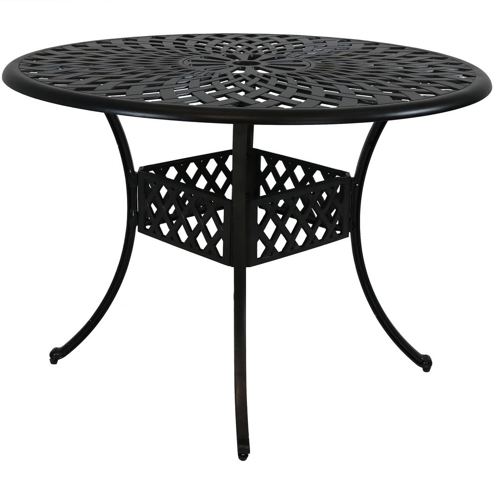 Durable Round Cast Aluminum Patio Outdoor Dining Table Construction With Crossweave Design