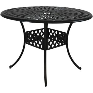 Durable Round Cast Aluminum Patio Outdoor Dining Table Construction With  Crossweave