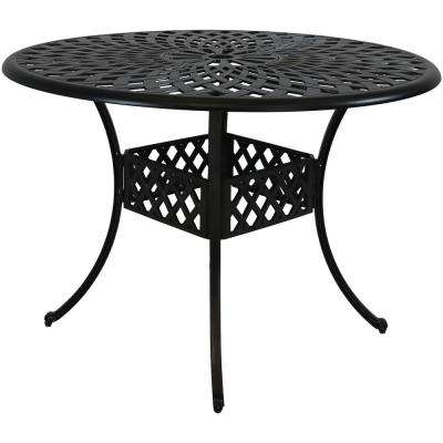 41 in. Durable Round Cast Aluminum Patio Outdoor Dining Table Construction with Crossweave Design