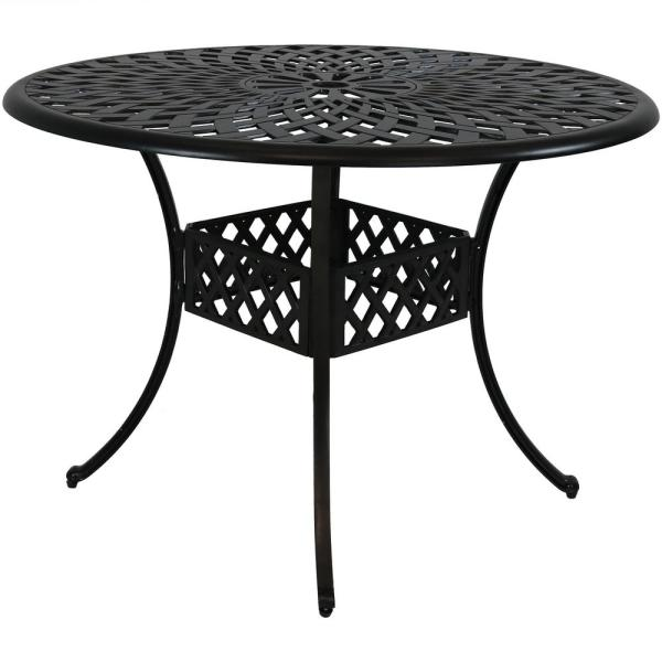 Sunnydaze Decor 41 In Durable Round Cast Aluminum Patio Outdoor Dining Table Construction With Crossweave Design Yuk 809 The Home Depot